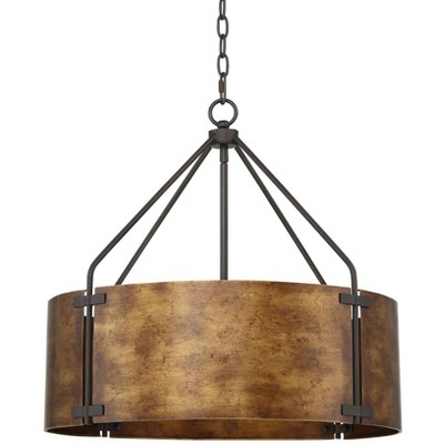 "Possini Euro Design Rustic Bronze Pendant Chandelier 22"" Wide Industrial Drum Shade for Dining Room House Foyer Kitchen Island"