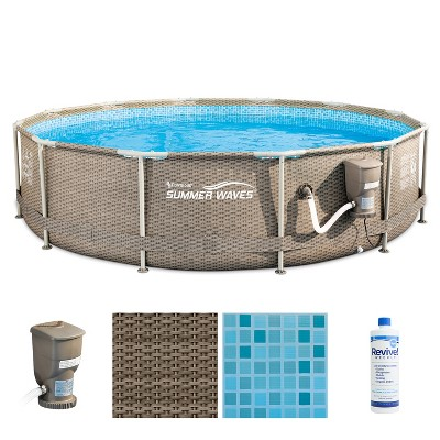 Summer Waves P20012335 12ft x 30in Outdoor Round Frame Above Ground Swimming Pool Set with Skimmer Filter Pump, Filter Cartridge & Treatment Cleaner