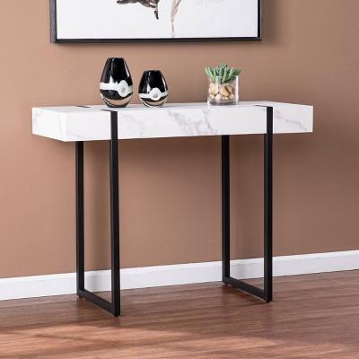 Wennan Modern Faux Marble Console Table Black/White - Aiden Lane