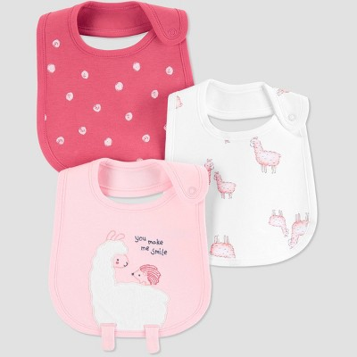 Baby Girls' 3pk Llama Bib - Just One You® made by carter's Pink One Size