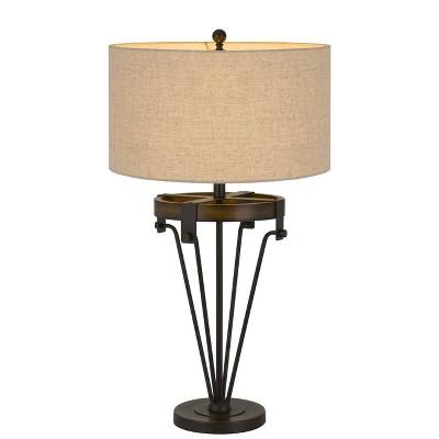 "32"" Metal/Wood Kirkcaldy Table Lamp with Drum Burlap Shade Black/Iron - Cal Lighting"