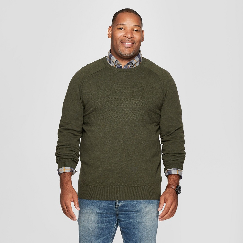 Men's Big & Tall Crew Neck Sweater - Goodfellow & Co Olive Heather 4XBT, Green