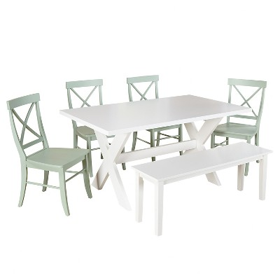 Sumner Dining Set with Bench White/Mint 6 Piece - TMS