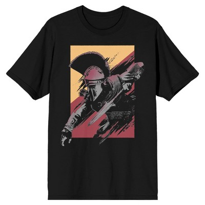 Assassin's Creed Spartan with Spear Head Men's Black Graphic Tee