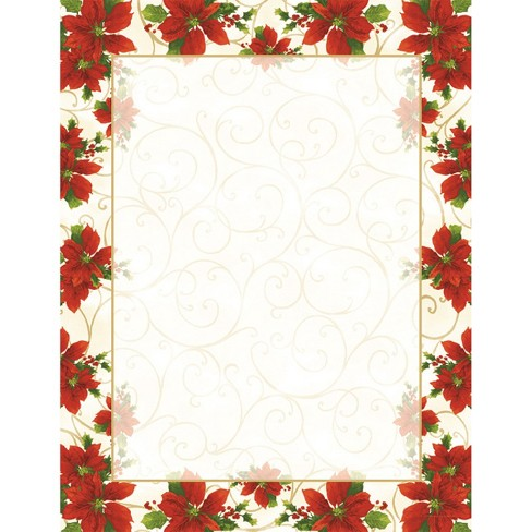 80ct Poinsettia Swirl Holiday Letterhead - image 1 of 1