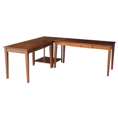 Basic Desk And Larger Desk with Connecting Table Brown - International Concepts
