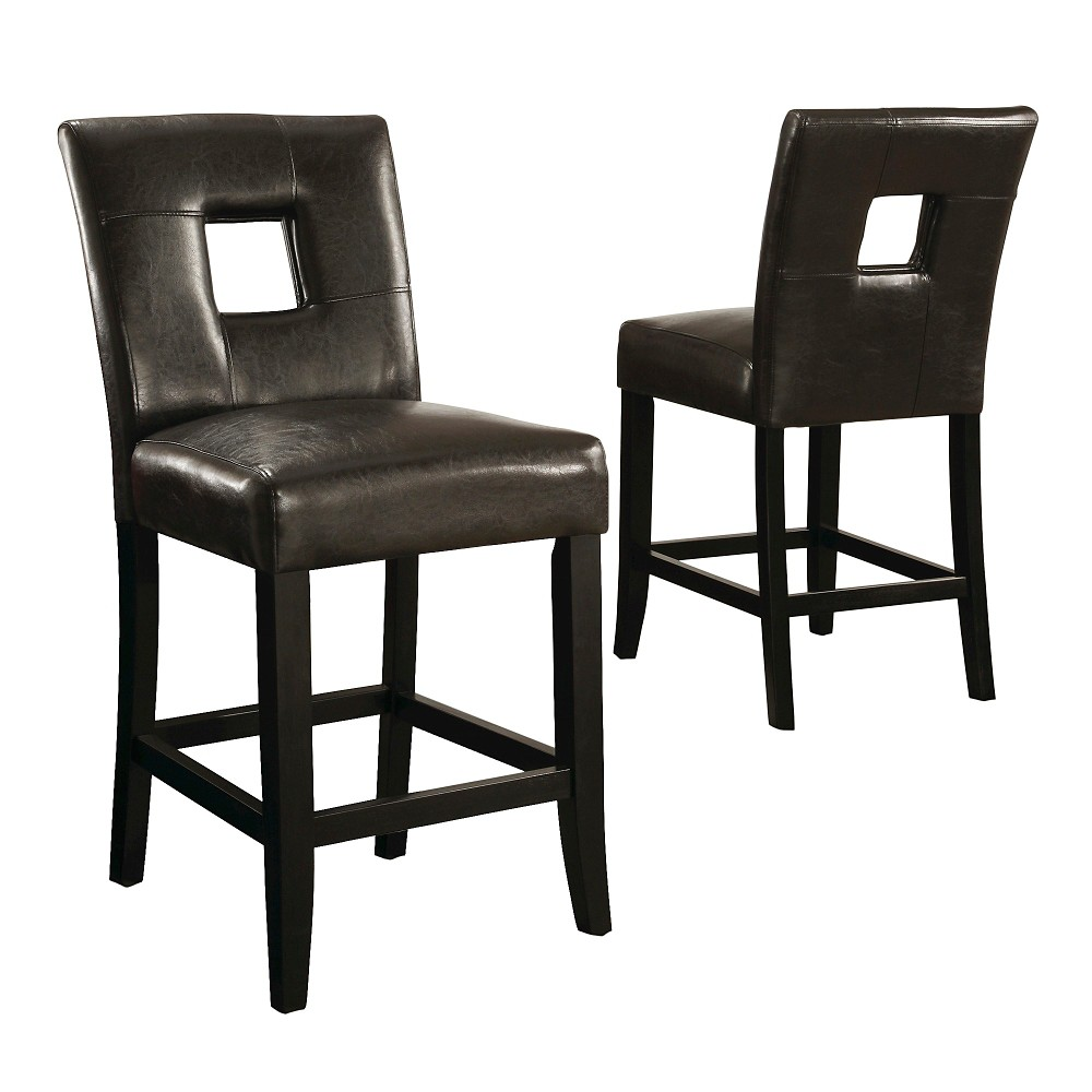 Phelan Keyhole Counter Stool - Dark Chocolate (Set of 2), Brown