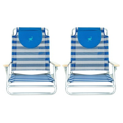 Ostrich SBSC-1016S South Adult Beach Lake Sand Lounging Chair, Striped (2 Pack)