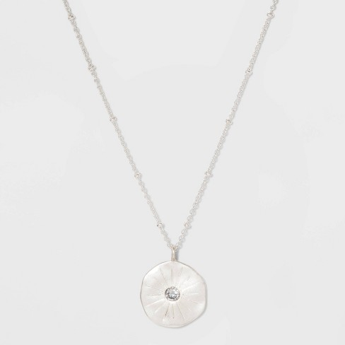 Disc and Stone Short Necklace - Silver - image 1 of 3