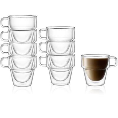 JoyJolt Stoiva Double Walled Coffee Mugs-Set of 8 Stackable Large Coffee Mugs with Handle - 11.5 oz