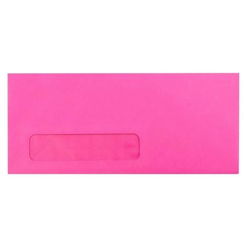 JAM Paper Brite Hue #10 Window Envelopes 4 1/8 X 9 1/2 50 per pack Ultra Fuchsia Pink - image 1 of 3
