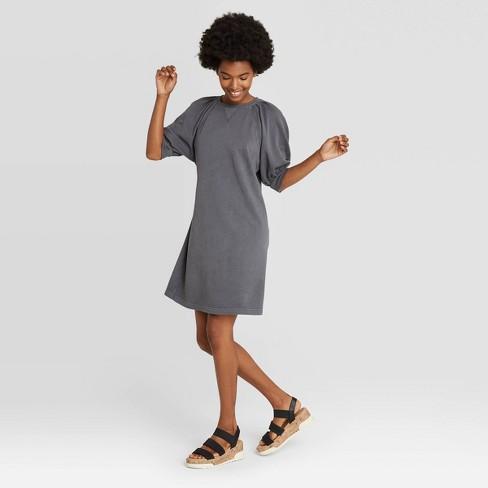Women's Puff Short Sleeve T-Shirt Dress - Universal Thread™ Gray XS