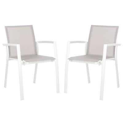 Negan 2pk Stackable Patio Chair - Gray - Safavieh
