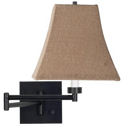 Franklin Iron Works Modern Swing Arm Wall Lamp Espresso Plug-In Light Fixture Natural Burlap Square Shade Bedroom Bedside Reading