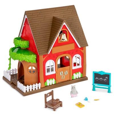 Li'l Woodzeez Toy School with Miniature Figurine 8pc - Woodland Schoolhouse Playset