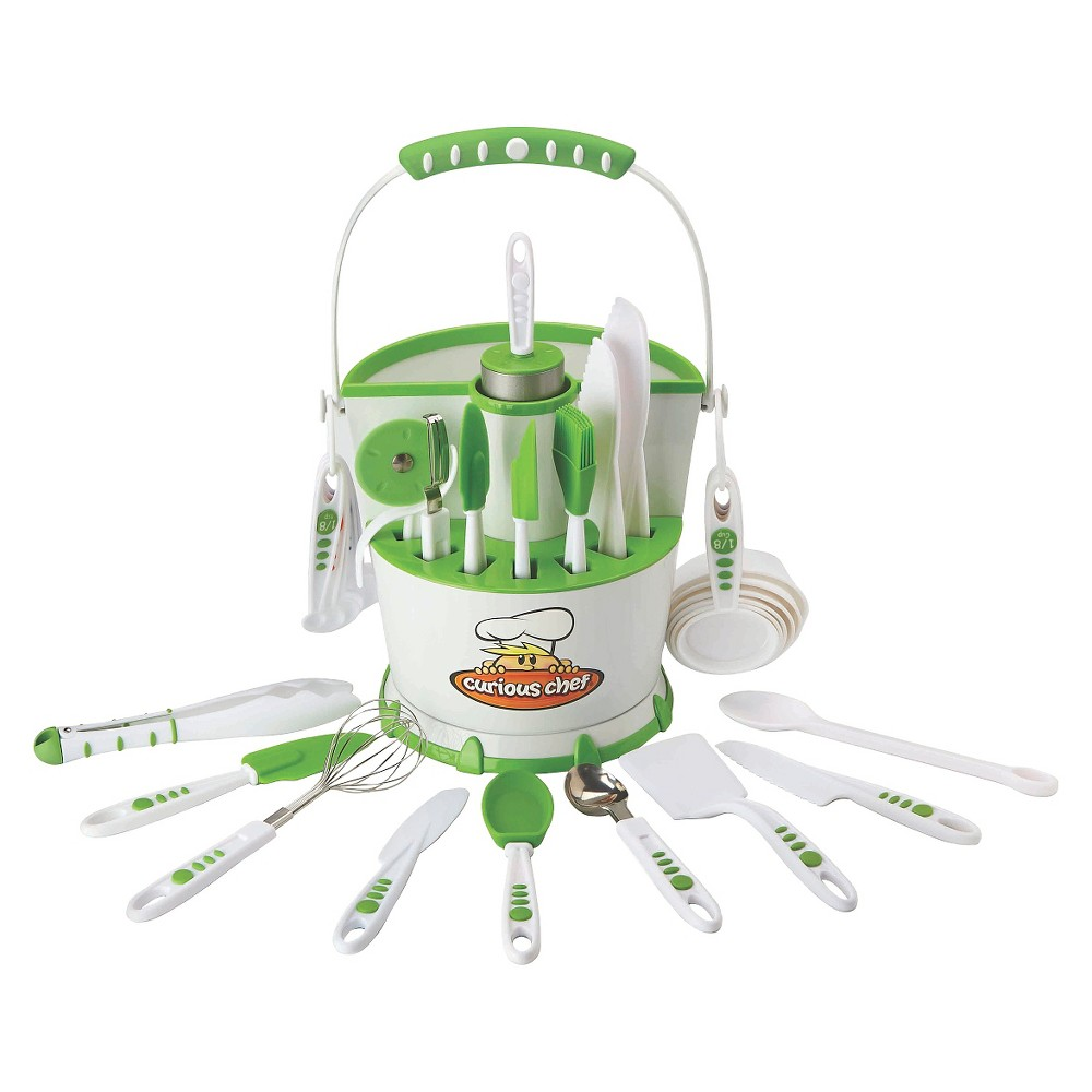 Curious Chef 30pc Caddy Collection, White/Green