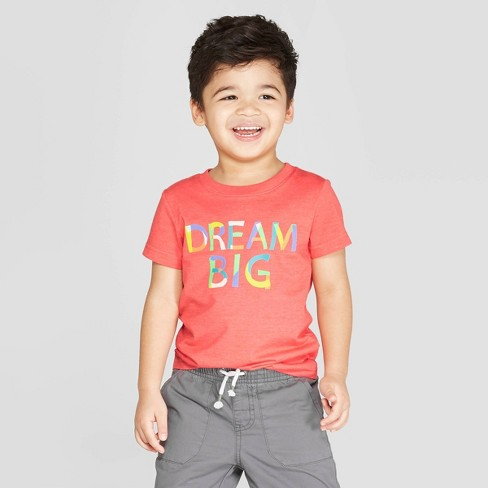 "Toddler Boys' Short Sleeve ""Dream Big"" Graphic T-Shirt - Cat & Jack™ Berry - image 1 of 3"