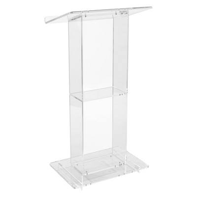 Lectern with Shelf Clear Acrylic - Hampton Collection