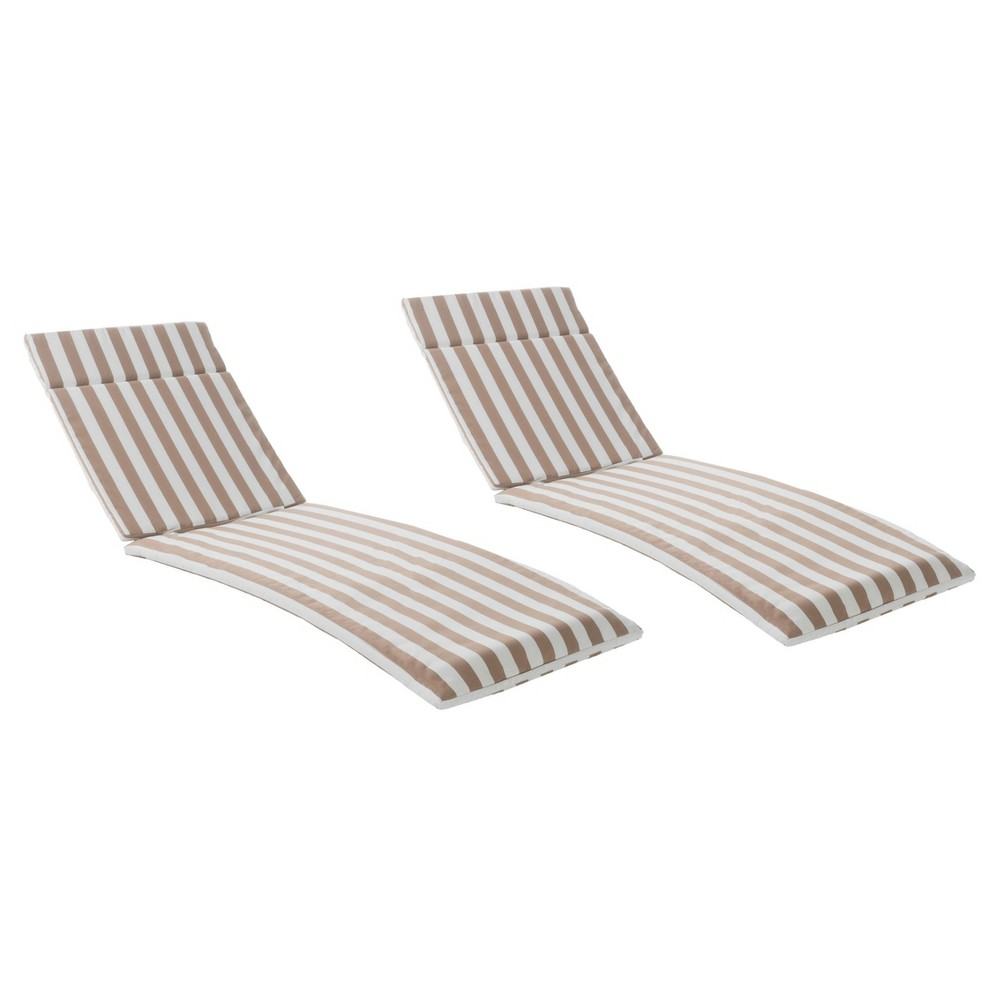 Salem Set of 2 Chaise Lounge Cushions - Brown and White Stripe - Christopher Knight Home