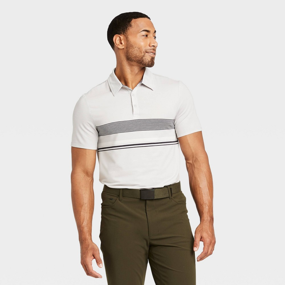 Men's Chest Stripe Golf Polo Shirt - All in Motion Silver Gray S was $24.0 now $12.0 (50.0% off)