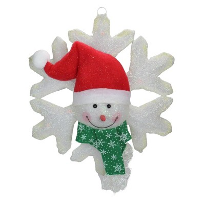"""National Tree 20"""" Prelit Battery Operated LED Snowman and Snowflake Christmas Wall Decoration"""