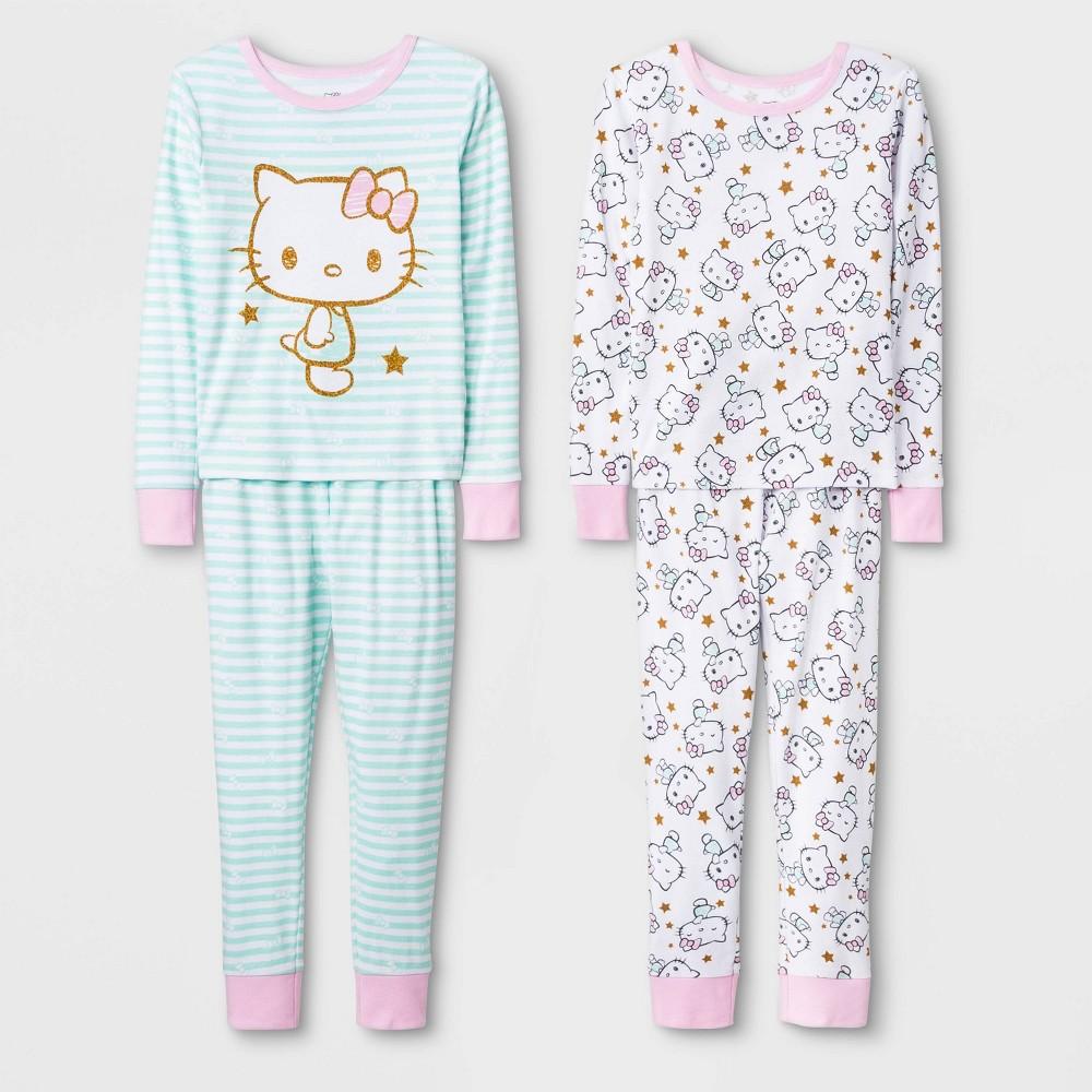 Image of Girls' Hello Kitty 4pc Pajama Set - Blue/White 4, Girl's