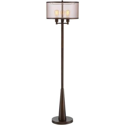 Franklin Iron Works Rustic Floor Lamp 3-Light Oiled Bronze Metal Brown Sheer Shade LED Edison Bulbs for Living Room Bedroom