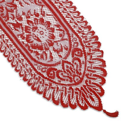 Juvale Red Lace Polyester Cloth Dining Table Runner, 72 Inches long x 13 in