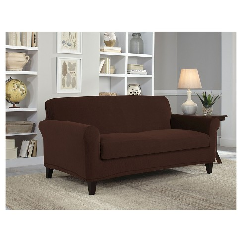 Stretch Grid Chocolate Loveseat Slipcover - Serta - image 1 of 1
