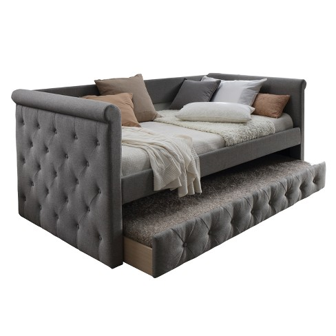 Upholstered Daybed with Trundle Gray - Home Source - image 1 of 3