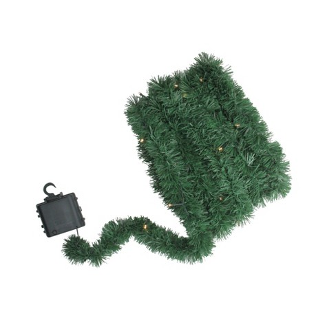 Brite Star 18 X 2 5 Prelit Led Battery Operated Green Pine Artificial Christmas Garland Warm White Lights