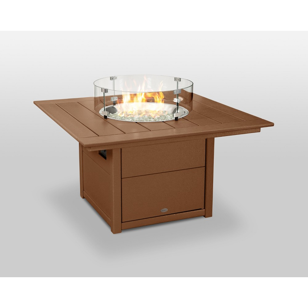 "Image of ""POLYWOOD 42"""" Fire Pit Table - Square - Teak, Brown"""
