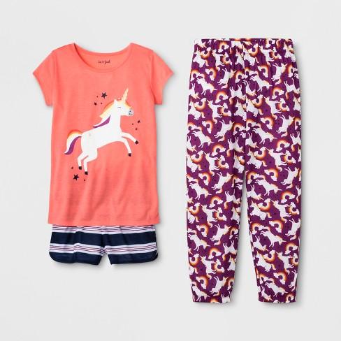Girls  Unicorn Print 3pc Pajama Set - Cat   Jack™ Peach   Target 696ec46e4