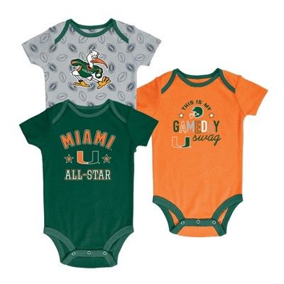 Miami Hurricanes Baby Boy Short Sleeve 3pk Bodysuit - 6-9M