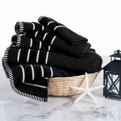 6pc Combed Cotton Bath Towel Set Black - Yorkshire Home