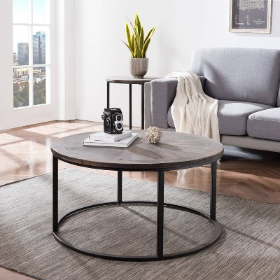 Lymedon Reclaimed Wood Cocktail Table Natural/Black - Aiden Lane