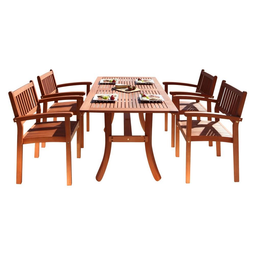 Malibu 5pc Rectangle Wood Patio Dining Set - Brown - Vifah