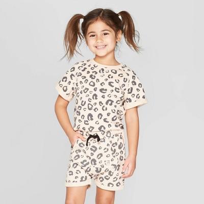 Toddler Girls' Short Sleeve 'Leopard' Sweatshirt - art class™ Light Pink 12M