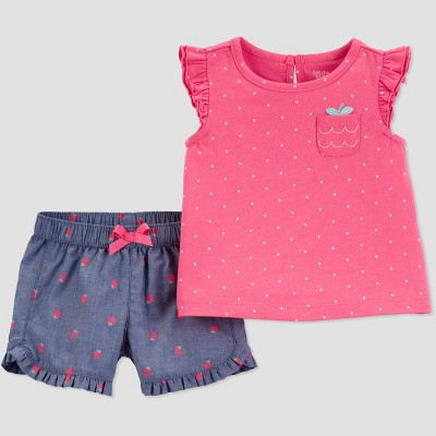 Baby Girls' 2pc Strawberry Top And Bottom Set - Just One You® made by carter's Pink/Blue 12M