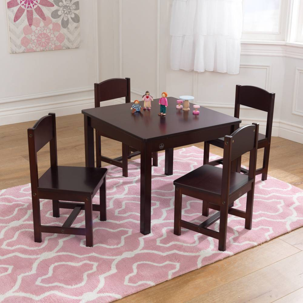 Image of Farmhouse Table and 4 Chair Set Espresso - KidKraft