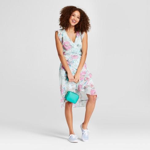 af739394a8e Women s Floral Print Short Sleeve Ruffle Wrap Dress - A New Day™ Light Blue