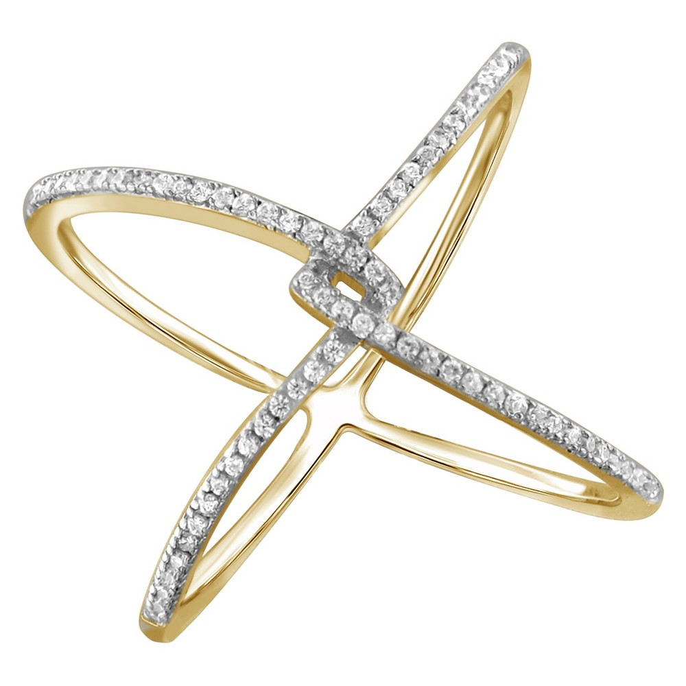 1/7 CT. T.W. Round-Cut White Diamond Prong Set Geometric Ring in Gold Over Silver (6), Yellow