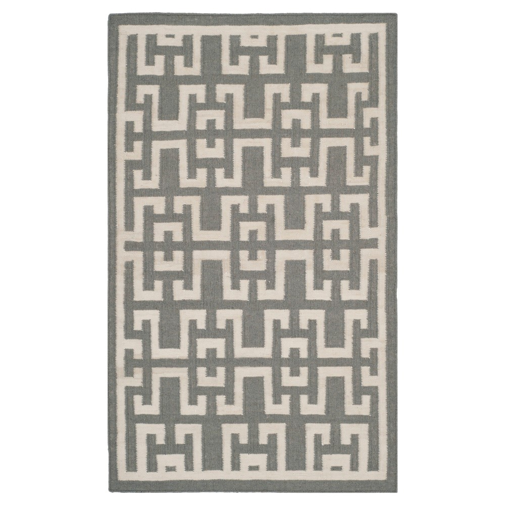 Newport Dhurrie Accent Rug Soft Gray Ivory 3 39 X 5 39 Safavieh