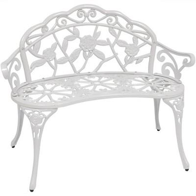 Cast Aluminum 2-Person Classic Rose Garden Bench - White - Sunnydaze Decor