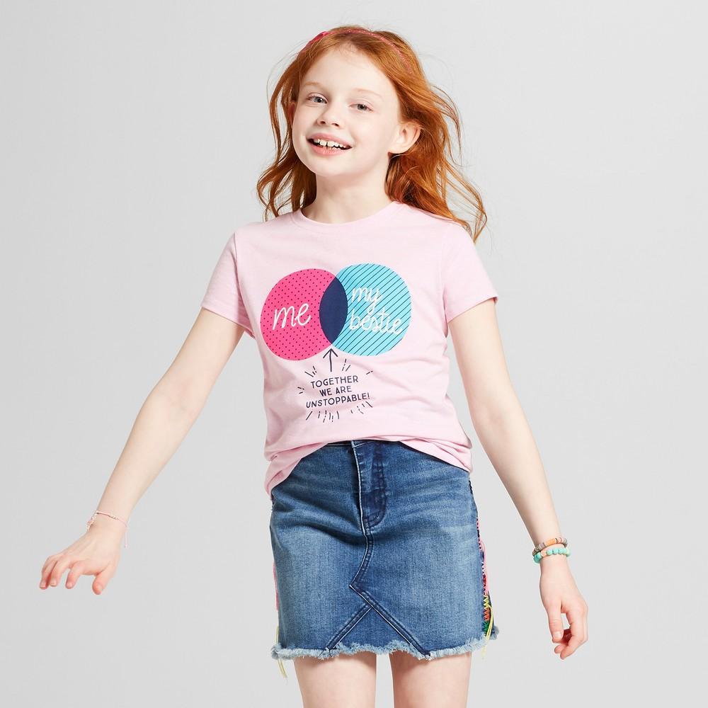Girls' Short Sleeve Besties Graphic T-Shirt - Cat & Jack Light Pink XL