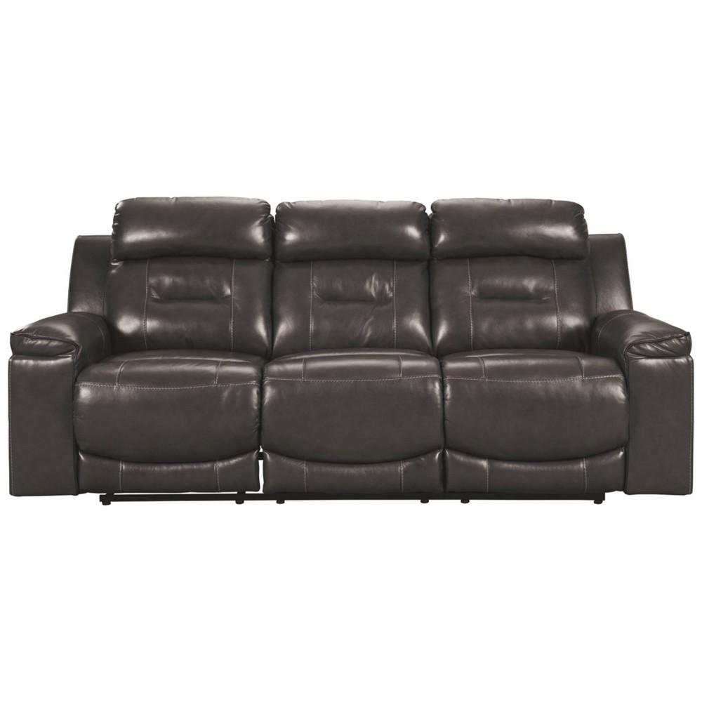 Pomellato Power Reclining Sofa with Adjustable Headrest Gray - Signature Design by Ashley