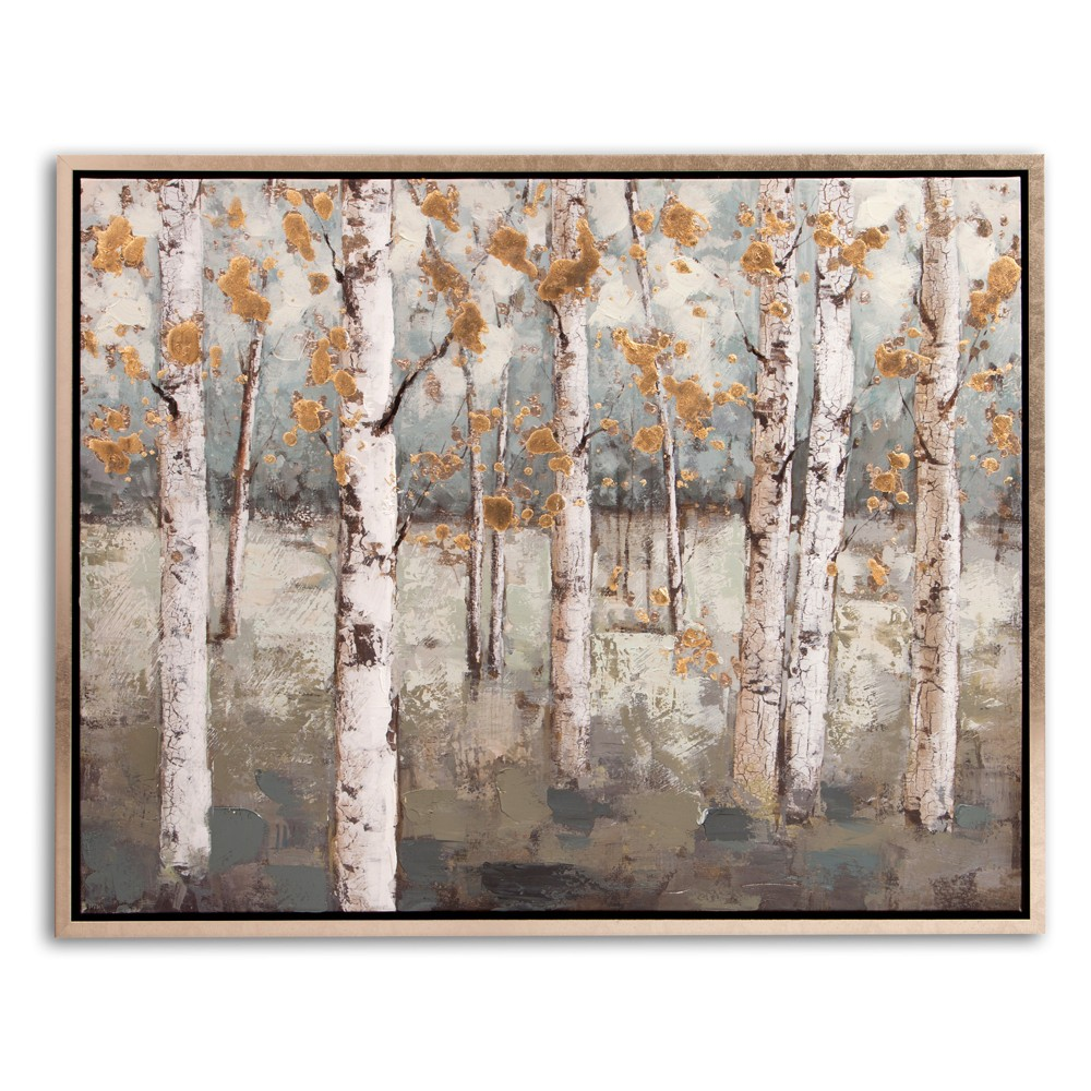 "Image of ""30""""x38"""" Amongst The Birch Trees Framed Canvas Art Champagne (Beige) - Patton Wall Decor"""