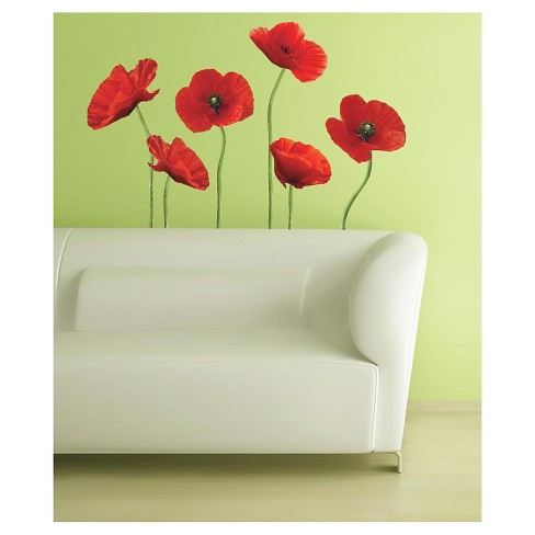 12 Poppies at Play Peel and Stick Giant Wall Decals Red - ROOMMATES - image 1 of 4