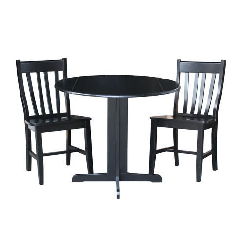 """36"""" Set of 3 Dual Drop Leaf Table with 2 San Remo Chairs Black - International Concepts - image 1 of 10"""