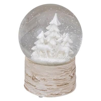 "Northlight 5"" White Reindeer and Christmas Tree Snow Globe on Birch Base"
